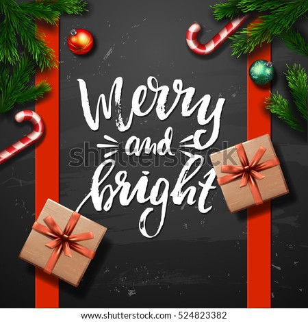 Christmas greeting card . Happy new year. Xmas vector background. Hand drawn calligraphy  merry and bright