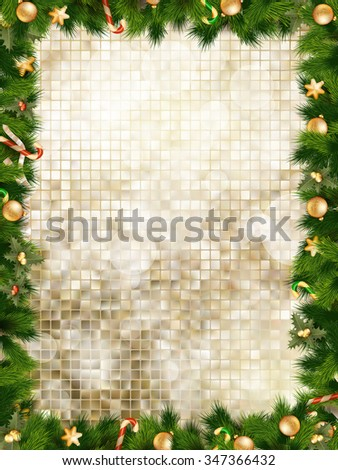 Christmas greeting card light and snowflakes background. Merry Christmas holidays wish design and vintage ornament decoration. Happy new year message. EPS 10 vector file included - stock vector