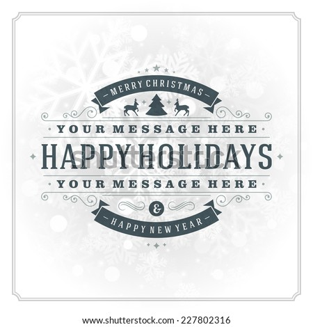 Christmas greeting card light and snowflakes vector background. Merry Christmas holidays wish design and vintage ornament decoration. Happy new year message. Vector illustration.  - stock vector
