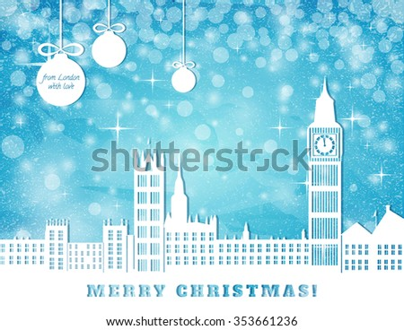 christmas greeting card, London with big ben on blue sky with stars and christmas balls background, cut paper vector illustration - stock vector