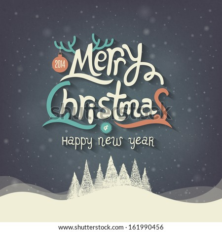 Christmas Greeting Card. Merry Christmas lettering  - stock vector