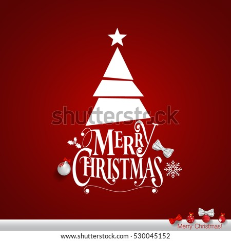 Christmas Greeting Card. Merry Christmas lettering with Christmas tree, vector illustration.