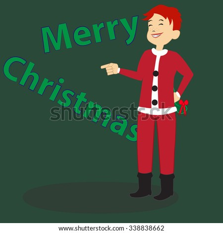 Christmas greeting card on green background. Cartoon boy in Santa's costume wishes you Merry Christmas. New Year concept. Vector illustration editable template. Spare place for your text. - stock vector