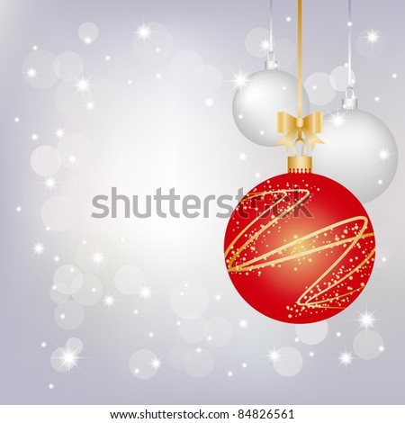 Christmas greeting card on sparkling silver background