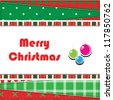 Christmas Greeting Card. Patchwork christmas background with christmas balls - stock vector