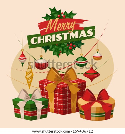 Christmas greeting card \ poster \ banner. Gift boxes and decorations. Vector illustration. - stock vector