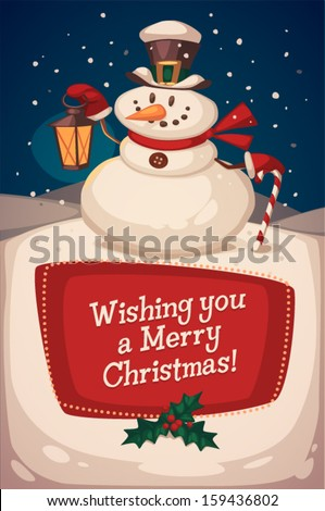 Christmas greeting card \ poster \ banner. Snowman with candy. Vector illustration. - stock vector