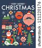 christmas greeting card/ poster template vector/illustration - stock photo