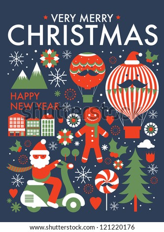 christmas greeting card/ poster template vector/illustration - stock vector