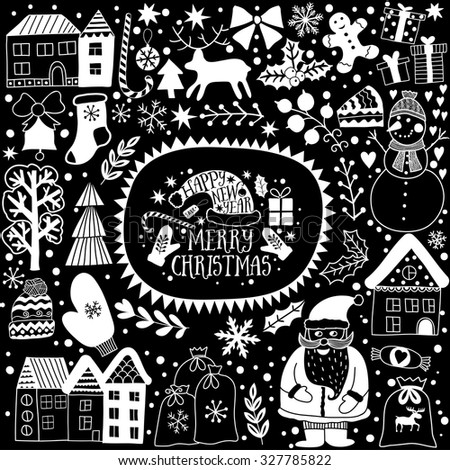 Christmas greeting card template, black and white vector Merry Christmas. Winter holiday design, frame wreath design made of childish doodles: Santa, houses, deer, winter forest, mittens, snowman. - stock vector