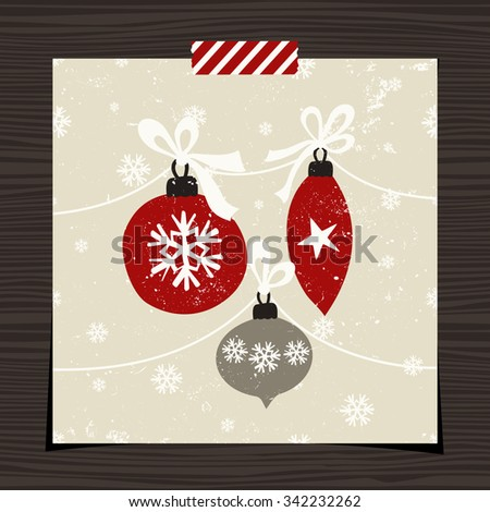 Christmas greeting card template design on wood background. Christmas baubles with white ribbon on snowflake pattern background.