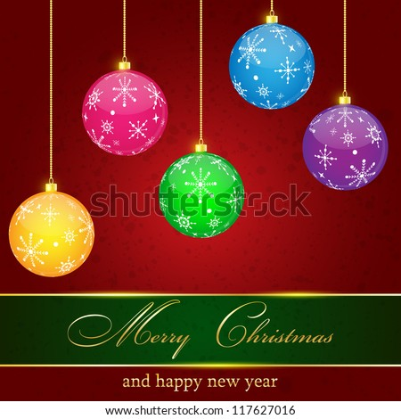 Christmas Greeting Card.Vector illustration. - stock vector
