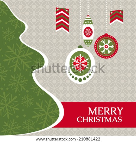 Christmas greeting card vector illustration - stock vector