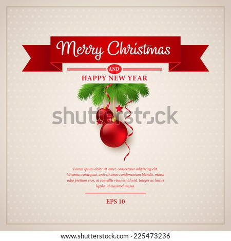 Christmas greeting card. Vector illustration - stock vector