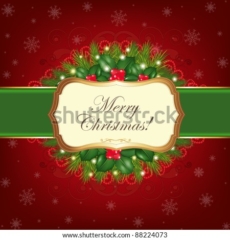 Christmas Greeting Card, Vector Illustration - stock vector