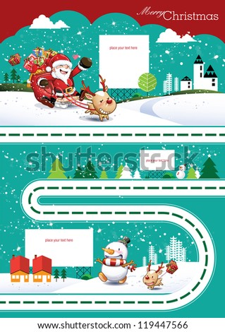 Christmas Greeting Card. Vector Illustration. Set of Christmas Info graphic. Merry Christmas - stock vector