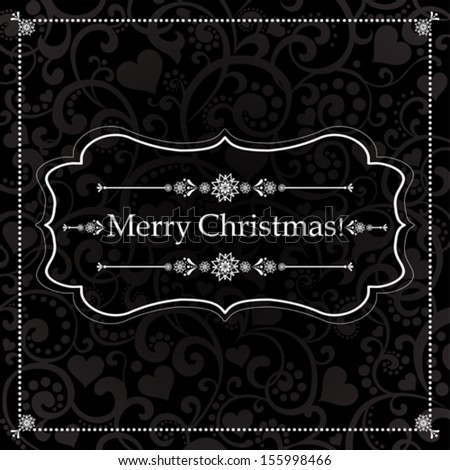 Christmas Greeting Card. Vintage black background. vector illustration