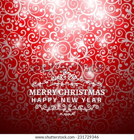 Christmas Greeting Card. Vintage card with Christmas letter, typography. Background pattern is seamless. vector - stock vector