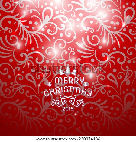 Christmas Greeting Card. Vintage card with Christmas letter, typography, vector illustration.  - stock vector