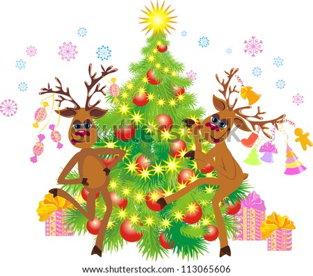 Christmas greeting card whit two dancing Reindeer