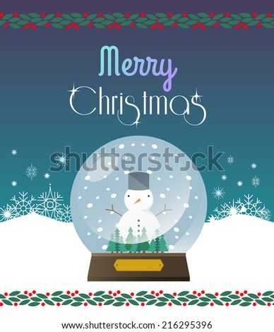 Christmas greeting card winter landscape. Merry Christmas and holidays wish Vector background. - stock vector