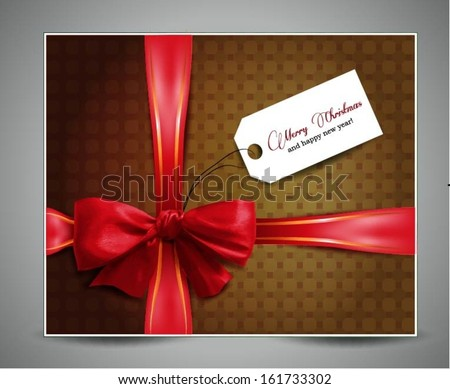 christmas greeting card with a red ribbon - stock vector