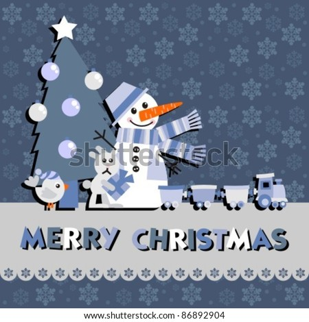 Christmas greeting card with a snowman, vector cartoon illustration