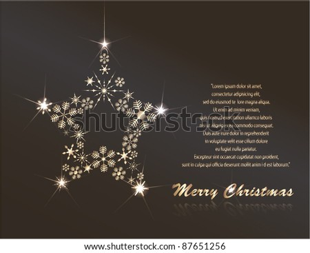 Christmas greeting card with a star created from snowflakes - stock vector