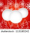 Christmas greeting card with abstract balls with ornament of snowflakes and forest of christmas trees, - stock vector