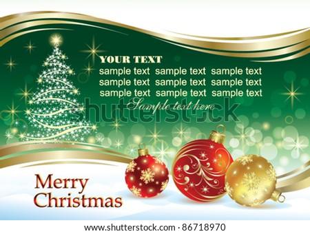 Christmas greeting card with ball and christmas tree - stock vector