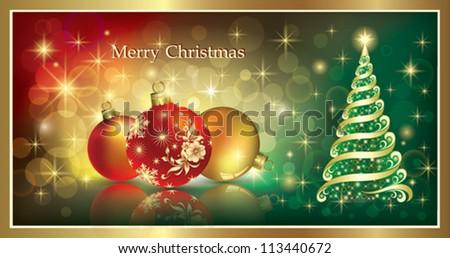 christmas greeting card with balls - stock vector