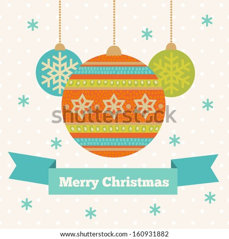 Christmas greeting card with balls - stock vector