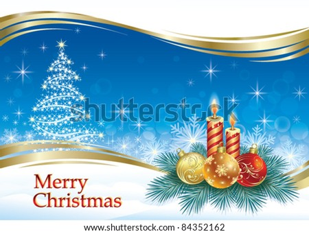 christmas greeting card with balls and candle - stock vector