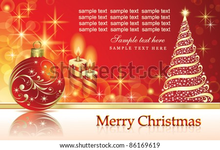 Christmas greeting card with balls and candle over red background