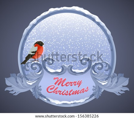 christmas greeting card with bullfinch - stock vector