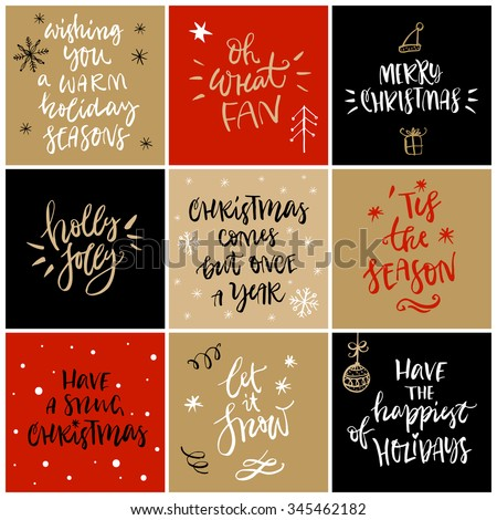 Christmas greeting card with calligraphy. Handwritten modern brush lettering. Hand drawn design elements. - stock vector