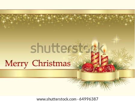 christmas greeting card with candle