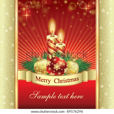 Christmas greeting card candles balls on stock vector 89576296 christmas greeting card with candles and balls on red backround m4hsunfo