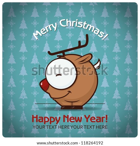 Christmas greeting card with cartoon deer. Vector illustration