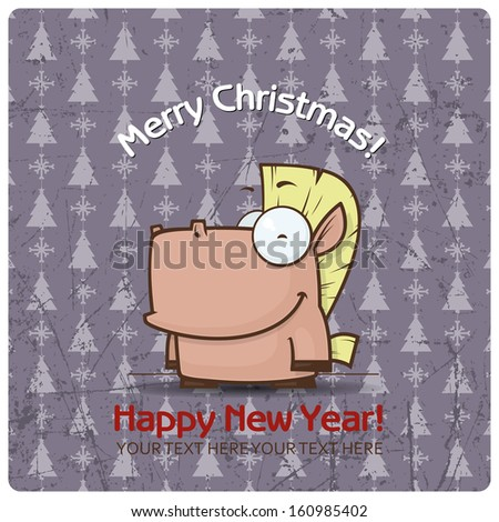 Christmas greeting card with cartoon horse. Vector illustration - stock vector