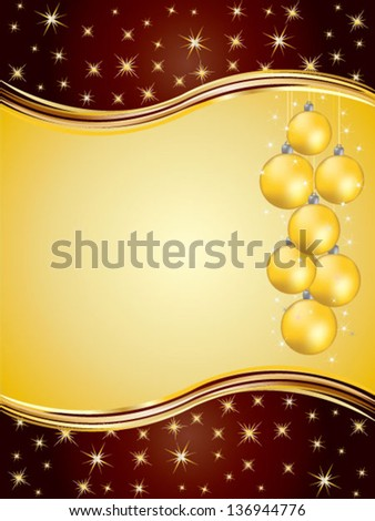 Christmas greeting card with christmas balls and stars - stock vector