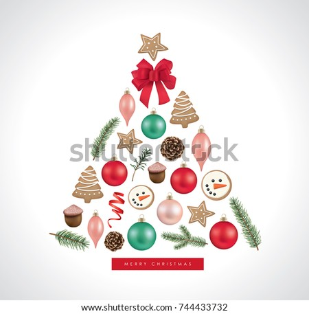 Christmas greeting card christmas ornaments cookies stock vector hd christmas greeting card with christmas ornaments cookies pine cones ribbon and fir branches m4hsunfo