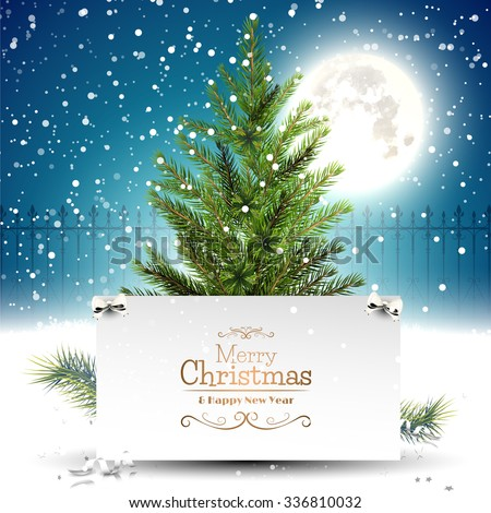 Christmas greeting card with Christmas tree in front of a night landscape - stock vector