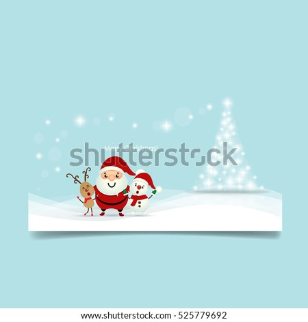 Christmas Greeting Card with Christmas tree, Santa Claus ,Snowman and reindeer. Vector illustration