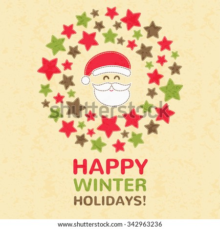 Christmas Greeting Card with Christmas wreath and greeting text (happy winter holidays). Hand-sewn style elements with light seams. Bright and happy color palette. - stock vector