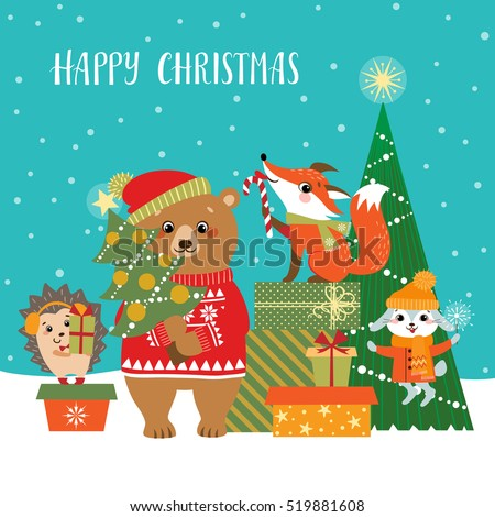 christmas greeting card cute forest animals stock vector royalty