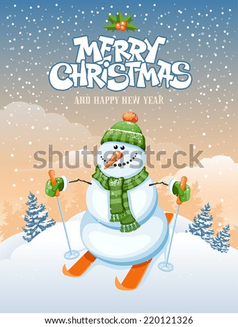 Christmas greeting card with cute snowman skier on winter landscape - stock vector