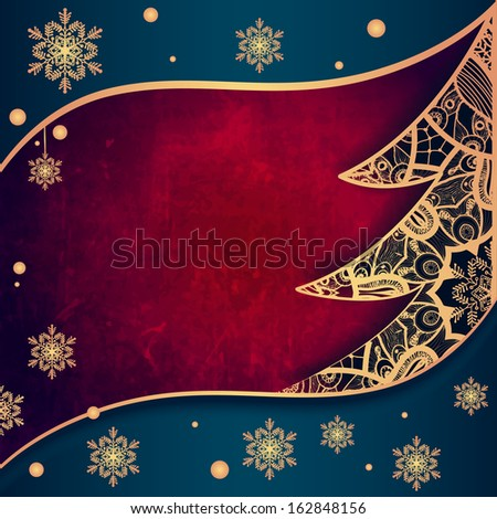 Christmas greeting card with decorative tree from lace. For gifts, decoration and invitations for your design. With a place for you inscription.