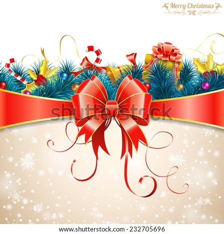 Christmas Greeting Card with Fir Branches, Candy, Gift, Streamer and Bow. Vector illustration. - stock vector