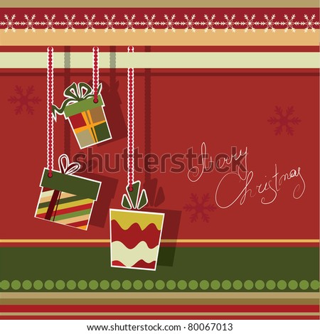 Christmas greeting card with gift boxes. Vector illustration. - stock vector